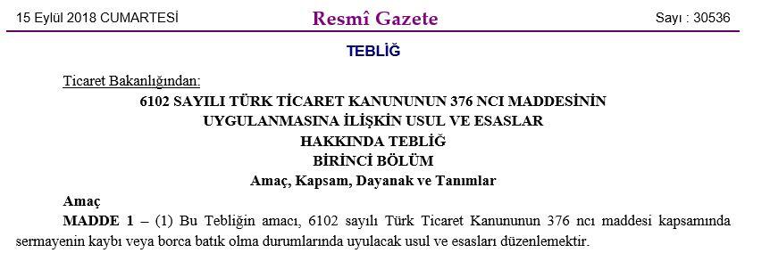 TTK 376 tebliği