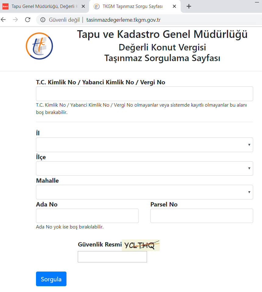TKGM Değerli Konut Vergisi Taşınmaz Sorgulama Sayfasu
